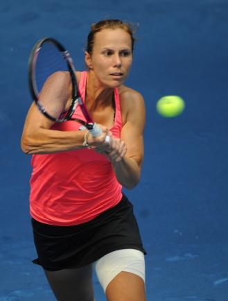 US Varvara Lepchenko returns a ball agai